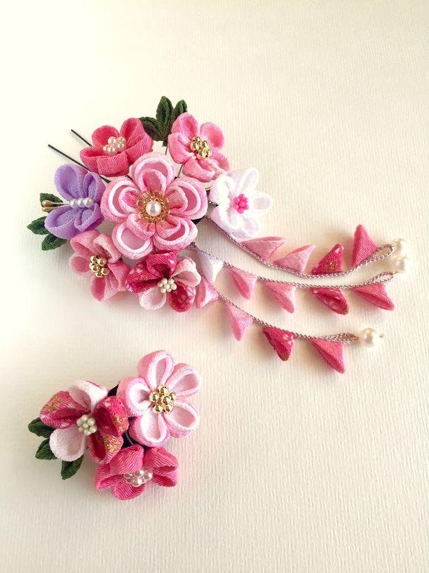 つまみ細工*ピンクの梅の髪飾り*画像1