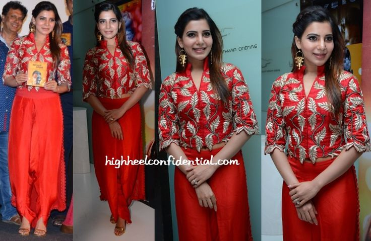 Wearing an Anamika Khanna embroidered jacket with dhoti pants, Samantha attended the audio launch of the upcoming Tamil movie 'Enakkul Oruvan'. Finishing out the look was a pair of gold Suhani Pittie earrings and a soft partial braid. She looked nice but I for one, wish the jacket was a wee bit longer so as …