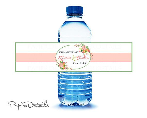 VINTAGE RUSTIC WATER labels watercolor labels water bottle