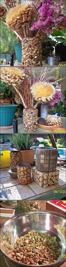 Мозаика морской галькой. Цветочные вазы из пластиковых и консервных банок. Мастер-класс.