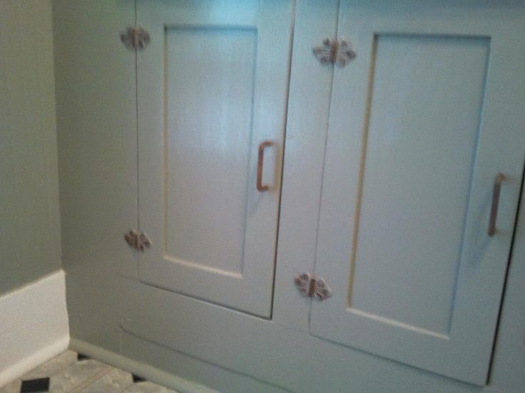 Antique Kitchen Cabinets Painted A Gray Green. Note The Antique Butterfly  Hinges.