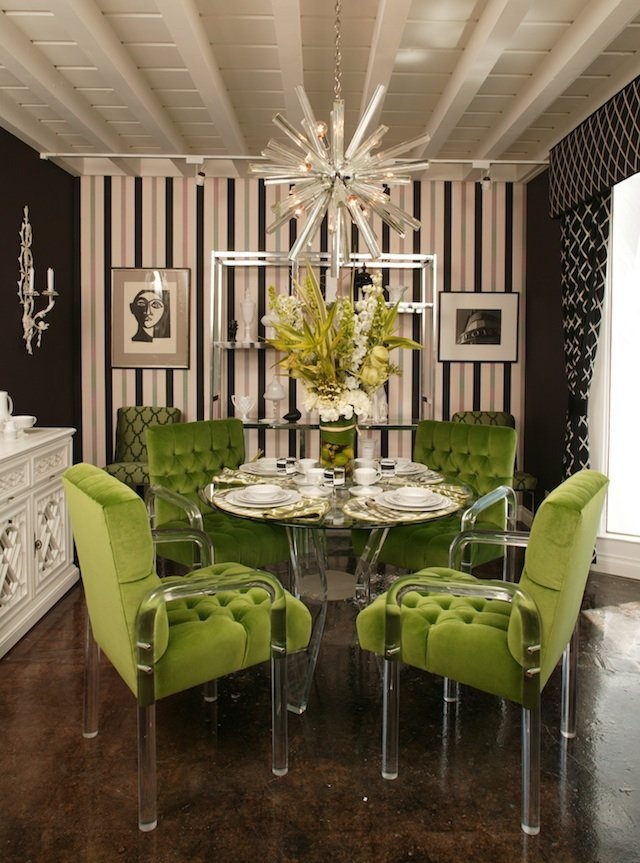 lime dining. Love this!  I would never be brave enough to do this but it's beautiful.  Love the chandelier, where can I get that?  And the chairs???  The buffet looks like a furniture redo....Perfect