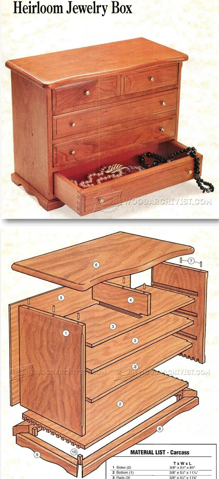 Heirloom jewelry Box Plans - Woodworking Plans and Projects | WoodArchivist.com