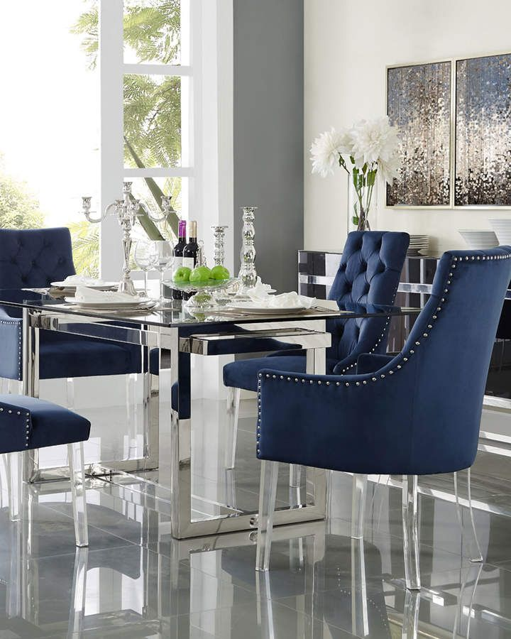 Inspired Home Tufted Velvet Dining Chairs Navy Set Of 2