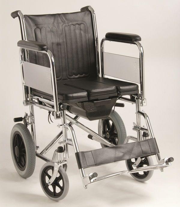 Αναπηρικό Αμαξίδιο με WC, πτυσσόμενο με Μεσαίες Ρόδες, αποσπώμενα πλαϊνά και υποπόδια. Wheelchair