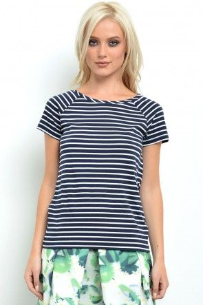 Mester SS Striped Top in Navy