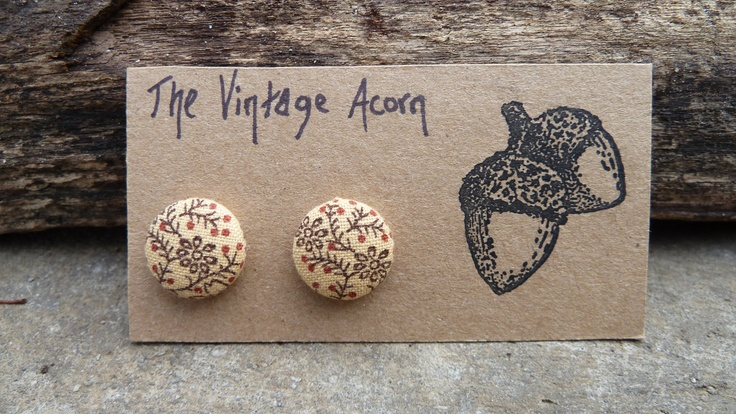 Woodsy Fabric Button Earrings.