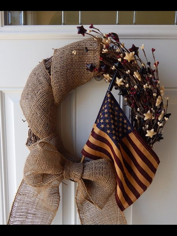 Patriotic Wreath  4th of July Wreath  Memorial by BlueHouseDesignz, $60.00