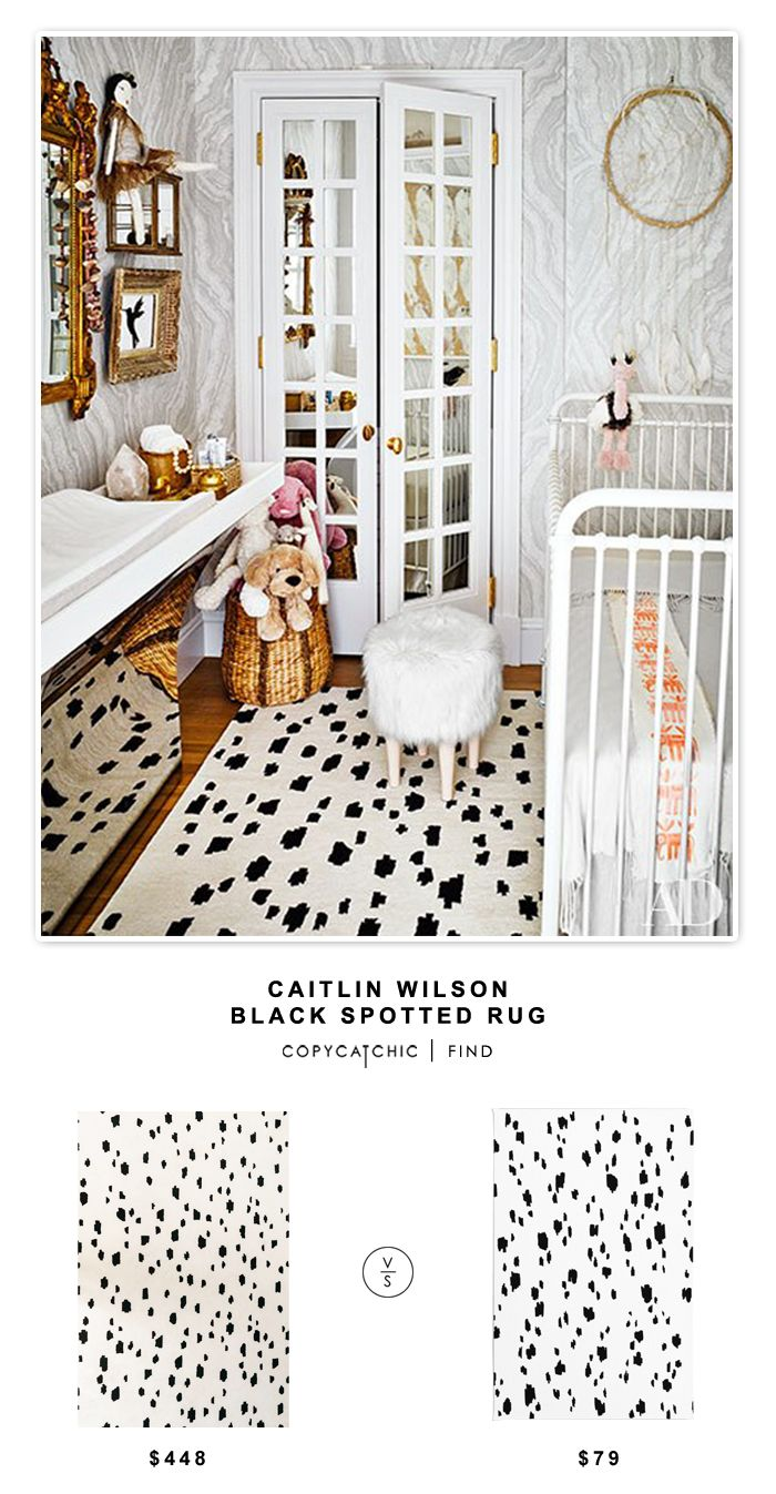 Caitlin Wilson Black Spotted Rug for $448 vs @society6 Chad Wys Snow Leopard Rug for $79   @copycatchic look for less budget home decor and design