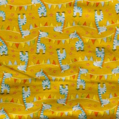 Baby Blue Zebras on Yellow Flannel