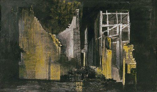 Graham Sutherland OM (England 24 Aug 1903–17 Feb 1980)  Title Devastation: burnt out offices Year 1941 Media category Watercolour Materials used watercolour, black, white and yellow chalks, over pencil Dimensions