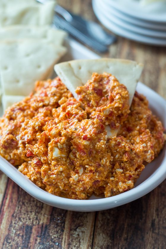 5 Minute & 5 Ingredient Greek-style Feta & Red Pepper Dip!