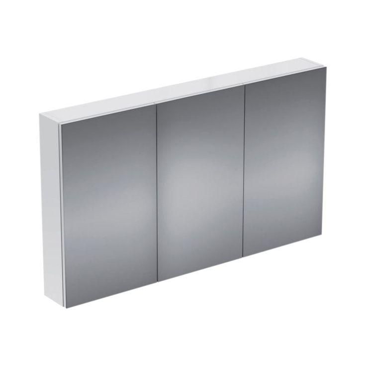 Ideal Standard Strada 1164 euro Specchio contenitore con tre ante. Due ripiani interni in vetro regolabili. Luce interna a led. Specchio interno. Dotato di interruttore e presa di corrente esterna. Finiture bianco o alluminio