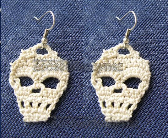 Looking for your next project? You're going to love Crochet Skull Earrings by designer Nezjewelry.