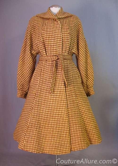Vintage 40's wool check print princess coat