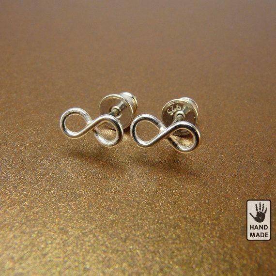 Sterling silver INFINITY earrings  :  studs, handmade, cute, small by StefanoArt on Etsy