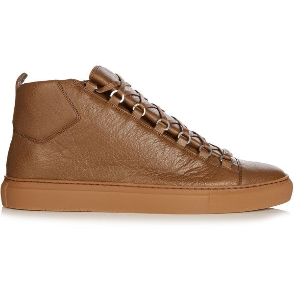 Balenciaga Arena high-top leather trainers ($585) ❤ liked on Polyvore featuring men's fashion, men's shoes, men's sneakers, khaki, shoes, mens leather sneakers, mens high top sneakers, balenciaga mens shoes, mens leather shoes and balenciaga mens sneakers