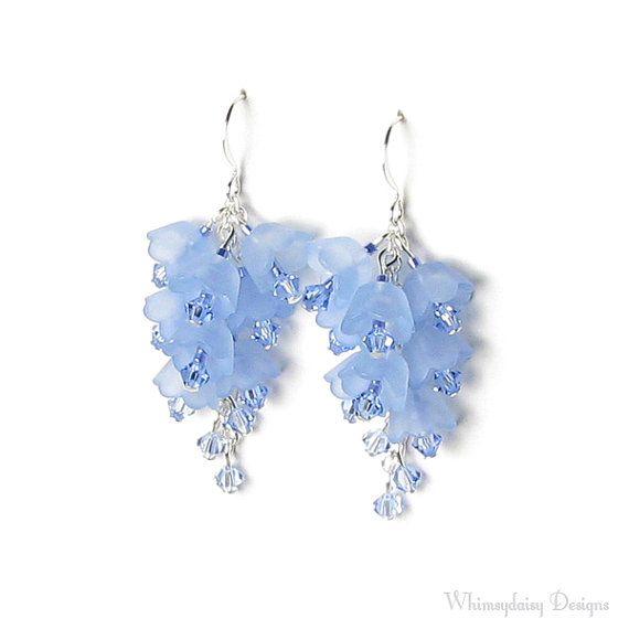 Blue Bell Floral Cluster Swarovski Crystal von whimsydaisydesigns