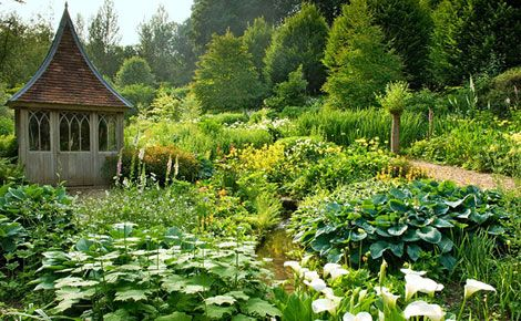 An English garden. This area was hopelessly wet in the winter  so rather than installing drainage, homeowner Amanda Mehigan decided to work with it. This is a fascinating bog garden! Photo: Jerry Harpur.