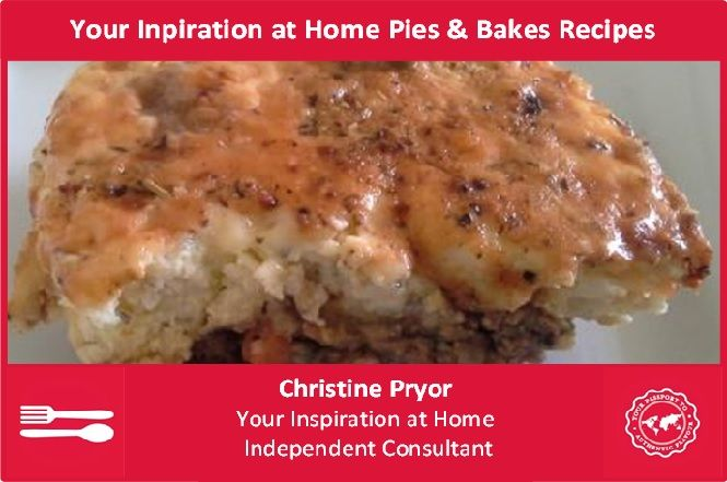 Who doesn't love a warm pie or bake on a cold winter's evening? These are hearty recipes that use the Your Inspiration at Home range. Visit my Facebook page - www.facebook.com/ChristinePryorYIAH