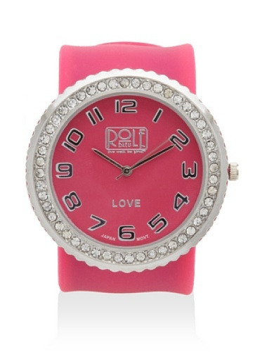 41% OFF Rolf Bleu Rhinestone Silicone Slap Watch (Hot Pink)