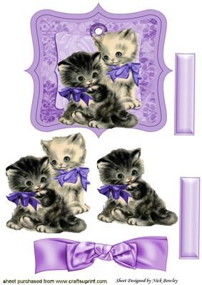 Vintage kittens on a tag with lilac bow on Craftsuprint - Add To Basket!