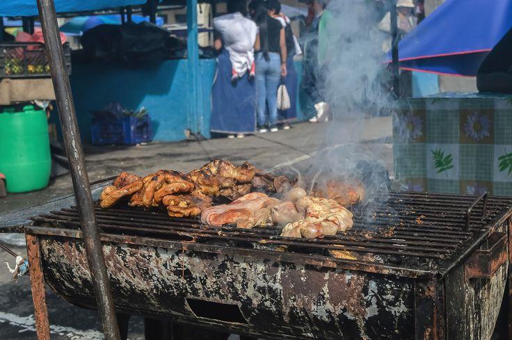 Grilled meats at Mercado Municipio, Otavalo, Ecuador | heneedsfood.com
