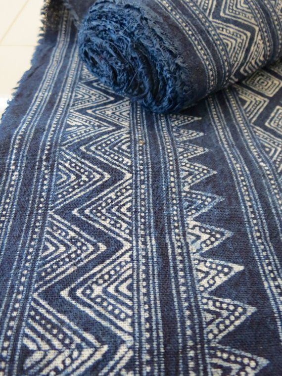 Handprinted Batik  cotton Vintage Style New fabrics,  Indigo Blue, Hmong, Table runner- from Thailand