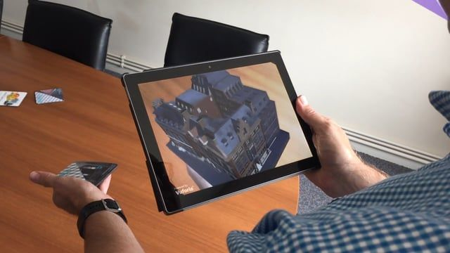 Scan to BIM to Augmented reality on Android and Apple Tablets - linked to a branded coffee mat AR market