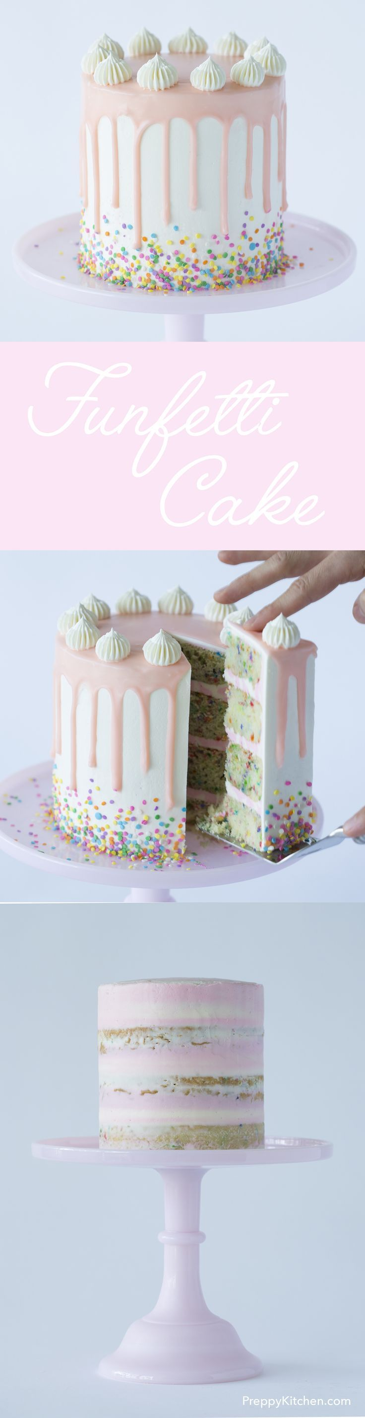 Why are confetti sprinkles so cute but so hard to find???? This funfetti cake  is coated in a dreamy Italian buttercream and topped with a white chocolate ganache. Click over for the full recipe and video.
