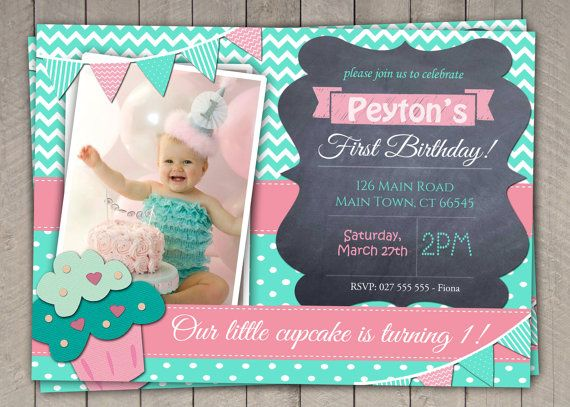 Best St Birthday Invites Images On Pinterest Party Time - Digital first birthday invitation