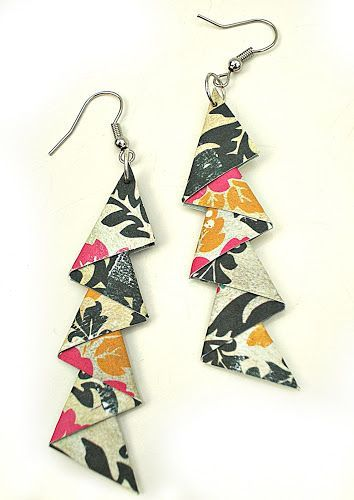 "Triangle Earrings Tutorial: Ever splurge on a gorgeous new outfit, & then wish you had matching accessories to finish off the look? Sandy Ang, of ""Sandy's Space"" has a quick & easy (and inexpensive) DIY jewelry tutorial that shows how you can make your own elegant fashion earrings out of paper!"