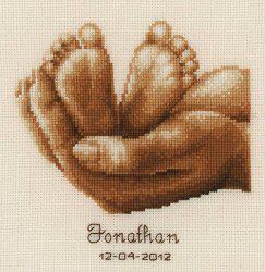 Baby Feet Personalized Cross Stitch Birth Record