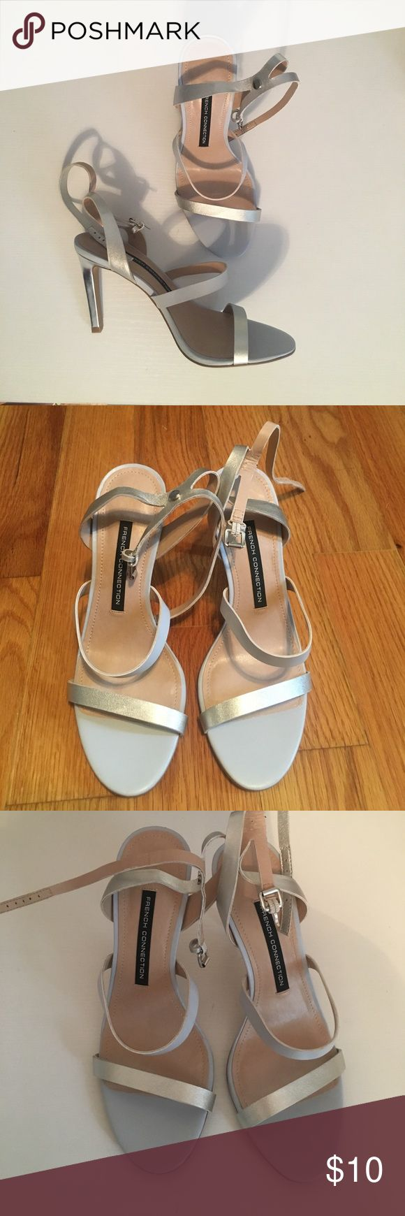 NWOT French Connection Silver Strappy Heels New never worn French Connection metallic silver and light gray/powder blue strappy Heels Size 37 (7). French Connection Shoes Heels