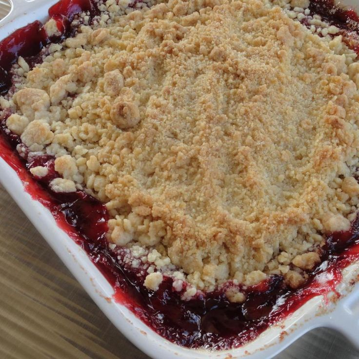 Delicious, quick, and easy cherry crisp made with cherry pie filling and pantry ingredients.   You will see by the recipe that I add additional sugar to the cherry pie filling, but you could cut it back to your preference or omit it.