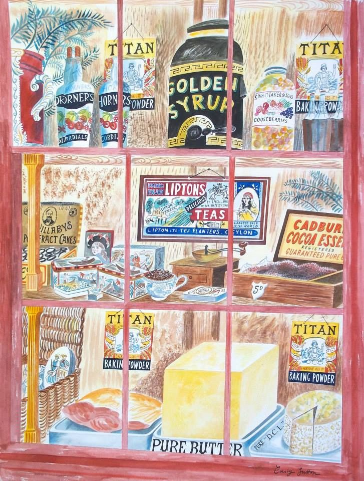 """Grocer's Window"" by Emily Sutton (watercolour)"
