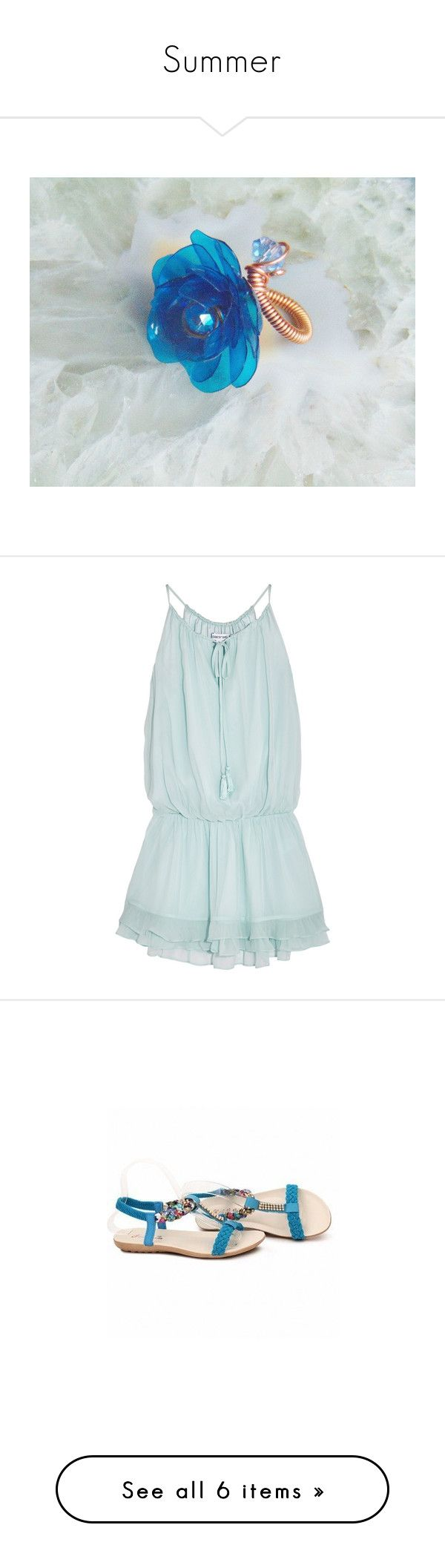"""""""Summer"""" by styledonna on Polyvore featuring dresses, light blue, light blue short dress, short blue dresses, slip on dress, elastic waist dress, light blue mini dress, shoes, sandals i t strap flats"""