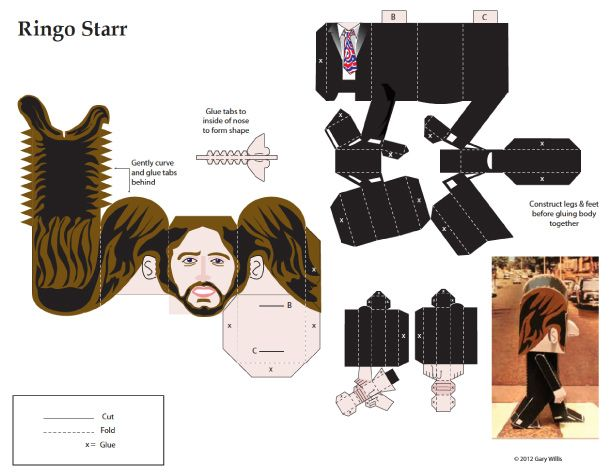 Blog Paper Toy papertoys Beatles Ringo Starr template preview Papertoys The Beatles by Gary Willis (x 4)