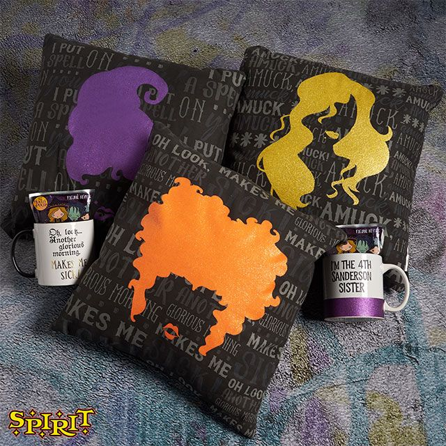 Cozy up with these Sanderson Sister pillows while watching Hocus Pocus!