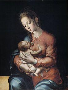 """Nos encontramos ante un cuadro titulado """"virgen con niño"""", realizado por Luis de Morales en el 1570."""