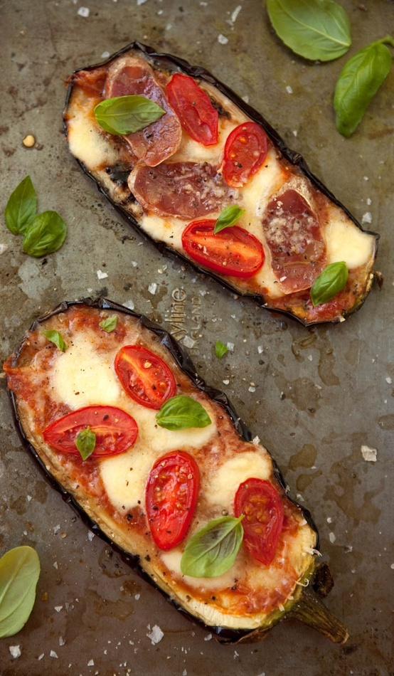 "Eggplant ""pizzas""....with tomato, cheese, basil, proscuitto"