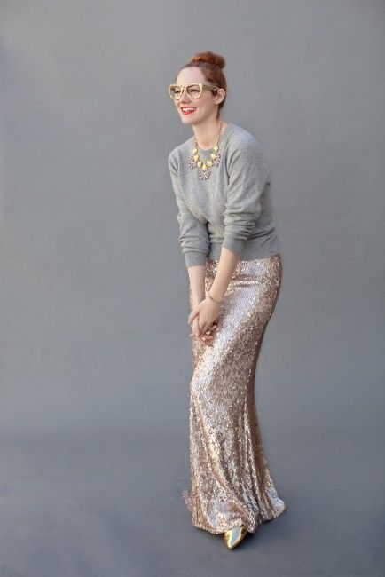 7 Ways To Wear a Sequin Maxi Skirt