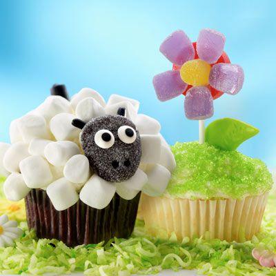 Lamb and Flower Orange Cupcakes