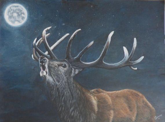 TABLEAU PEINTURE cerf brame lune forêt Animaux Acrylique  - Le prince des forêts