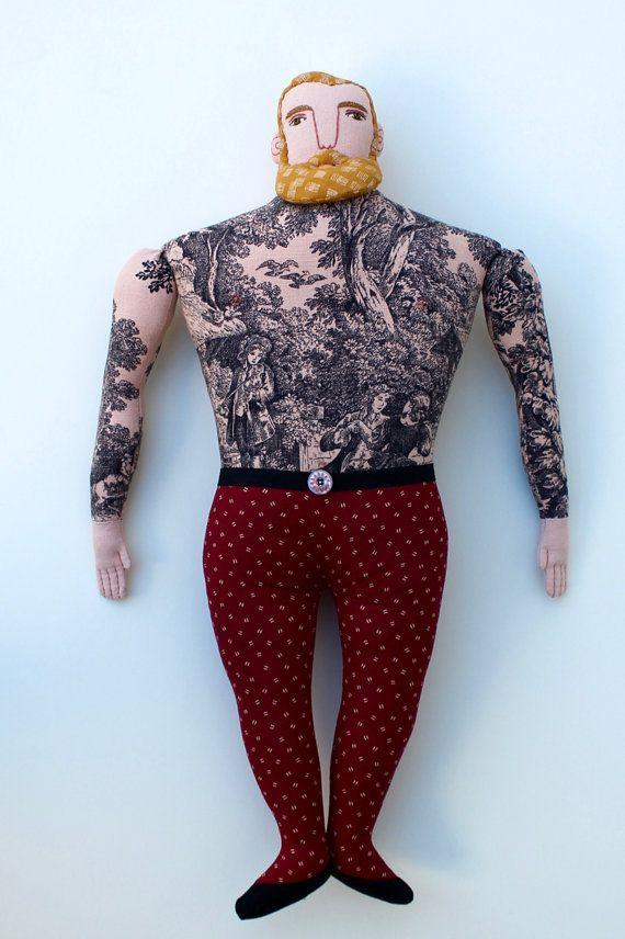 Grote blonde Man met tatoeages baard pop toile door MimiKirchner