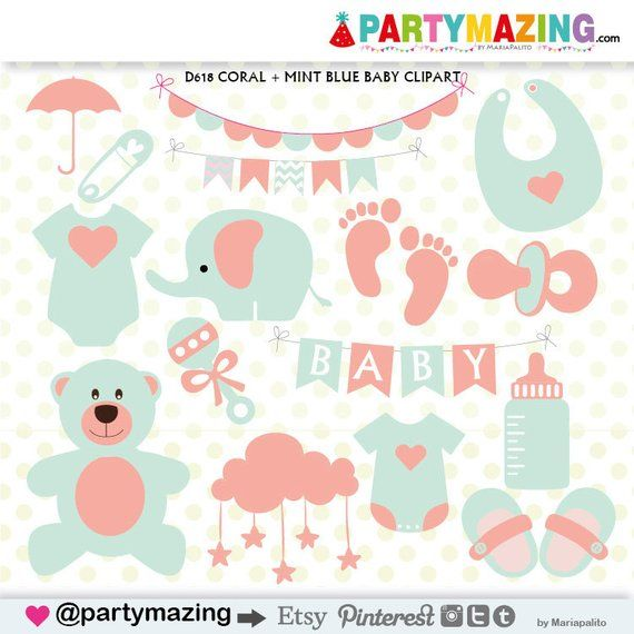 Baby stuff. Clipart shower coral and