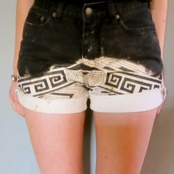 How to turn a dark pair of denim shorts or pants into an amazing pair of tribal shorts.