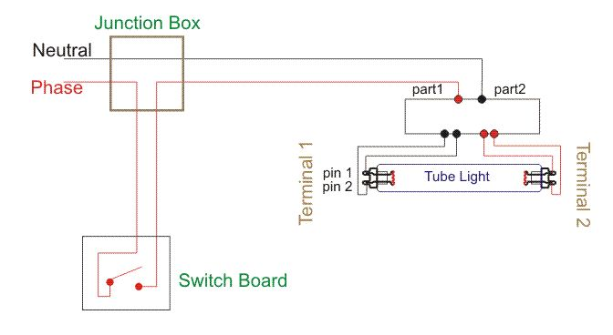 Wiring Diagram for a Single Tube Light Circuit Circuit