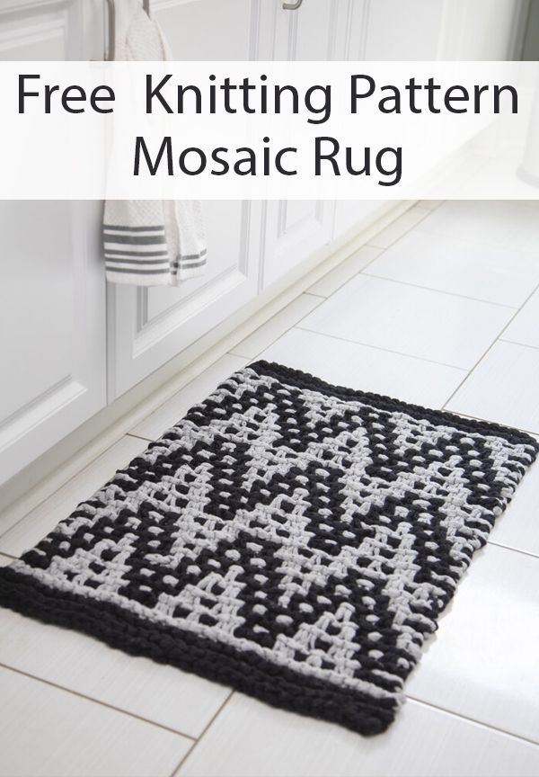 Free Knitting Pattern for Mosaic Rug - Two color geometric ...