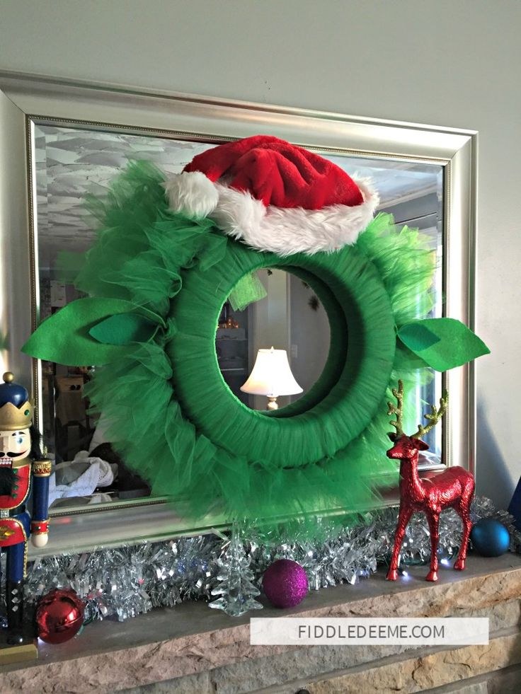 Tulle Yoda Christmas Wreath. The perfect holiday decoration for the Star Wars fan!
